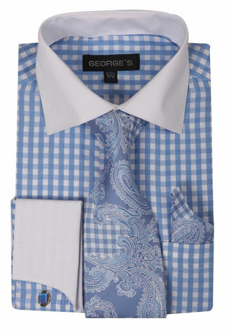 Milano Moda Men Shirt AH615-Light Blue - Church Suits For Less