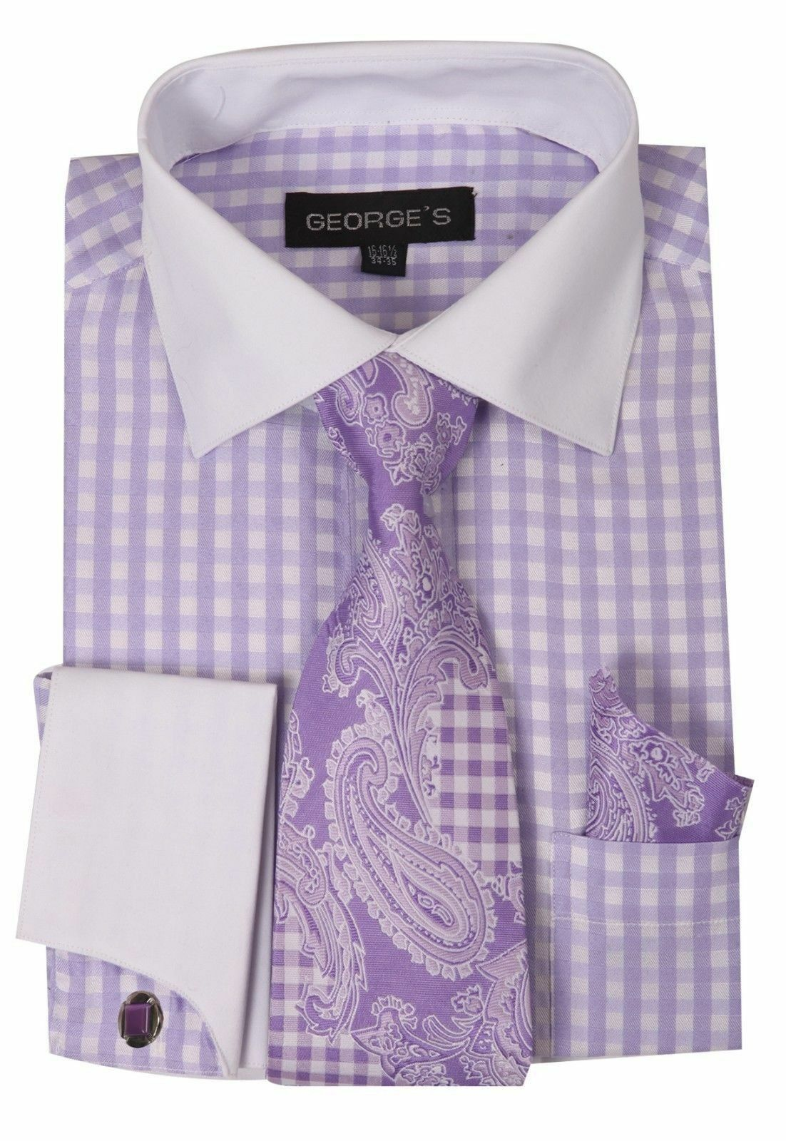 Milano Moda Men Shirt AH615-Lavender - Church Suits For Less