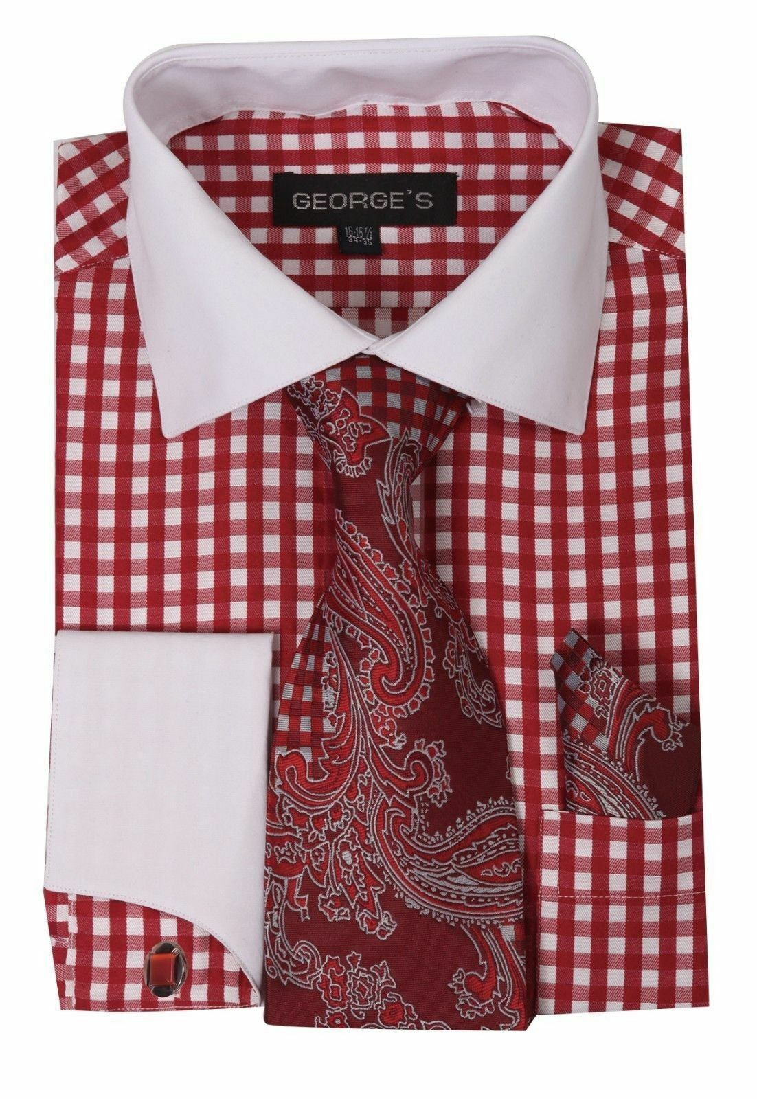 Milano Moda Men Shirt AH615-Red - Church Suits For Less
