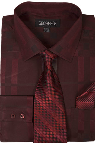 Milano Moda Men Shirt AH623-Burgundy