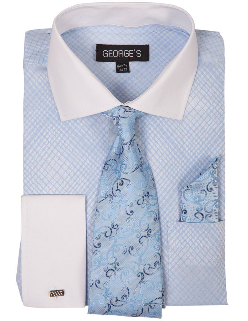 Milano Moda Men Shirt AH624-Blue - Church Suits For Less