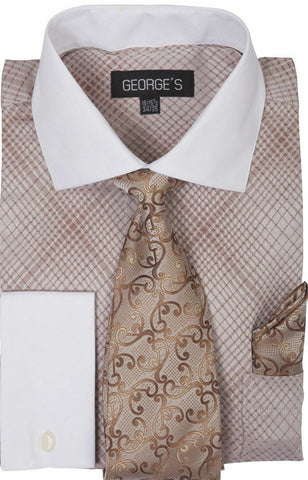 Milano Moda Men Shirt AH624-Brown