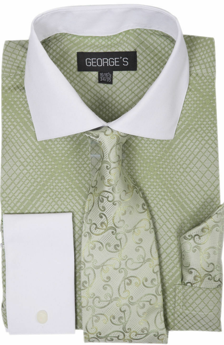 Milano Moda Men Shirt AH624-Green - Church Suits For Less