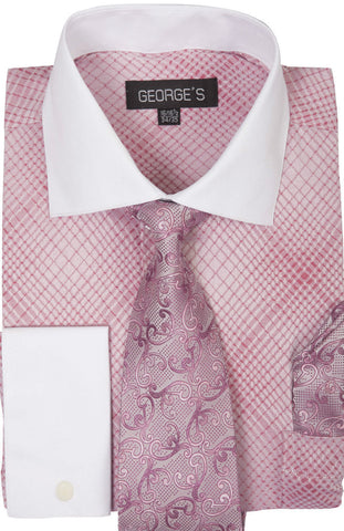 Milano Moda Men Shirt AH624-Rose Pink - Church Suits For Less