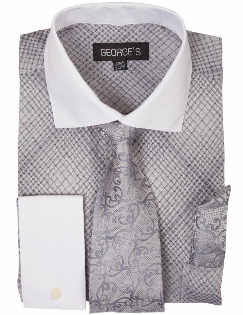 Milano Moda Men Shirt AH624-Silver - Church Suits For Less