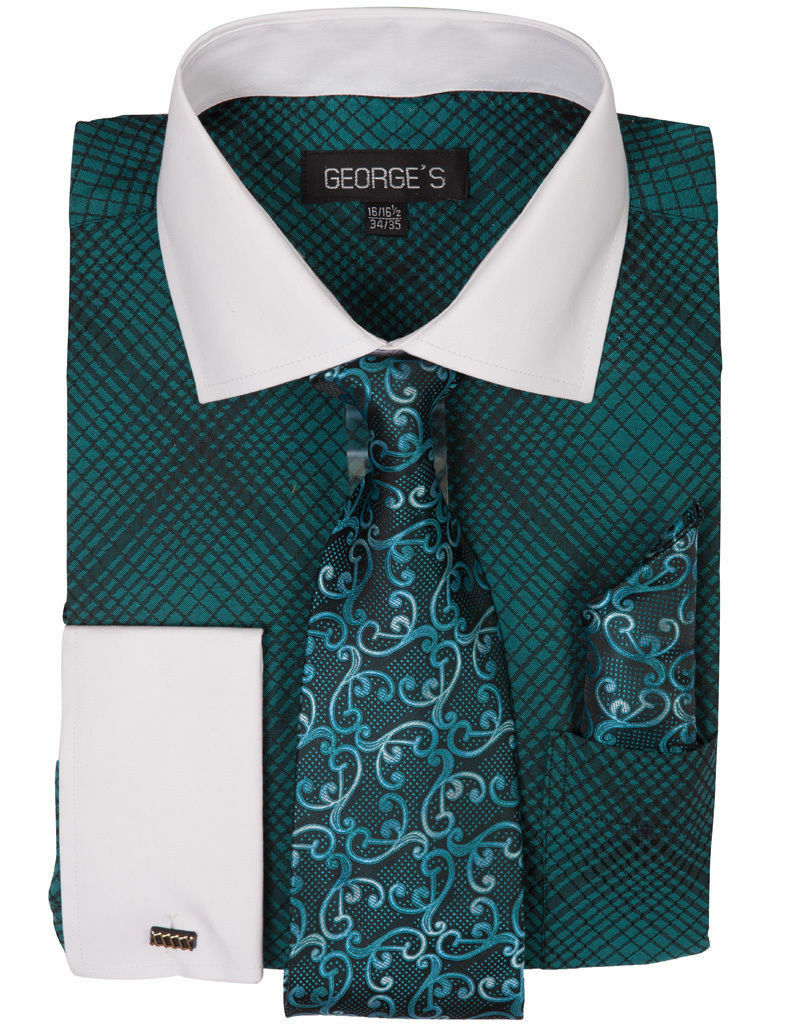 Milano Moda Men Shirt AH624-Turquoise - Church Suits For Less