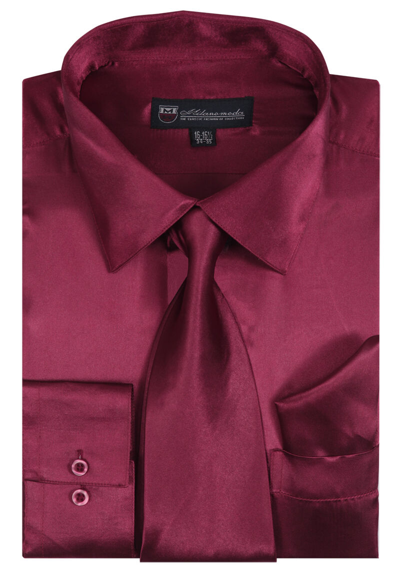 Milano Moda Shirt SG08-Burgundy - Church Suits For Less