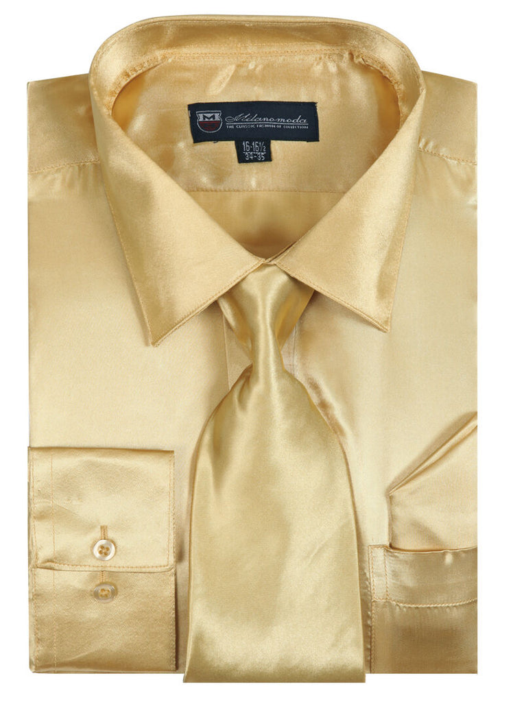 Milano Moda Shirt SG08-Gold - Church Suits For Less