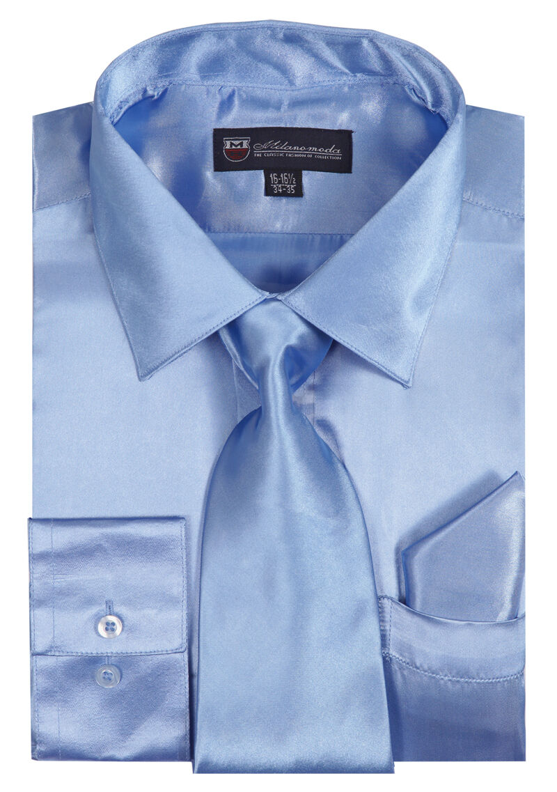 Milano Moda Shirt SG08-Sky Blue - Church Suits For Less