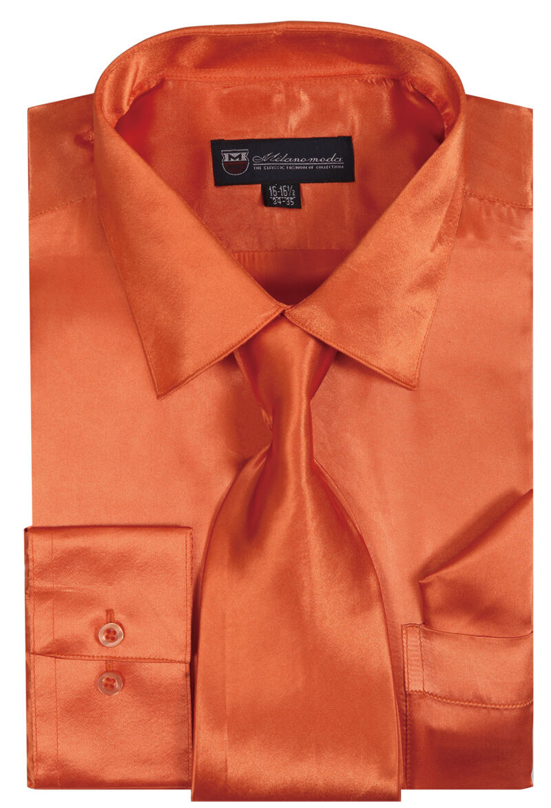 Milano Moda Shirt SG08-Orange - Church Suits For Less