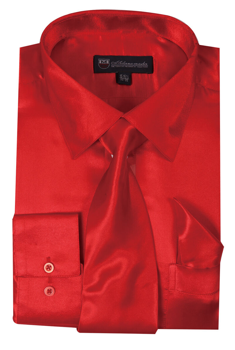 Milano Moda Shirt SG08-Red - Church Suits For Less