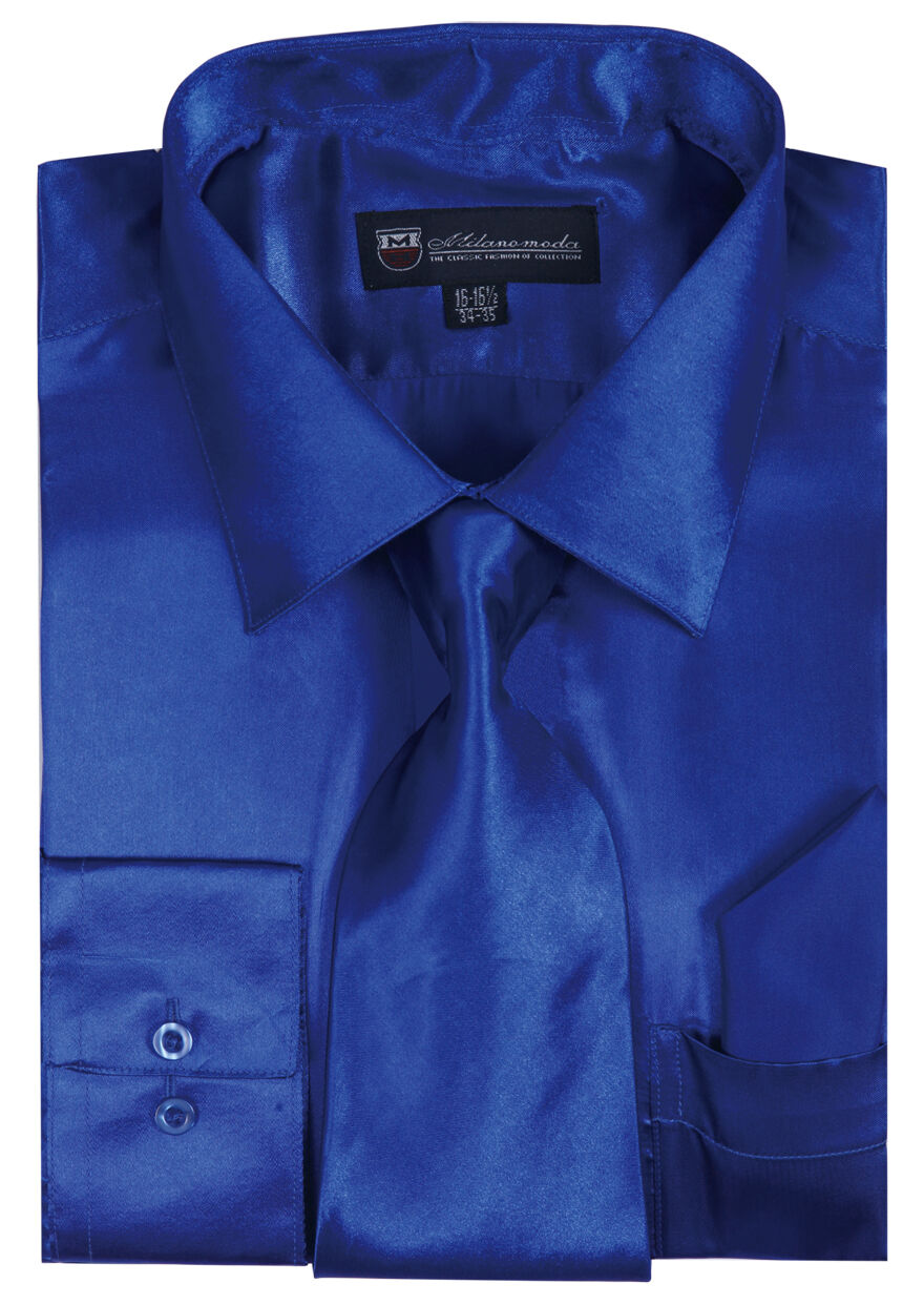 Milano Moda Shirt SG08-Royal Blue - Church Suits For Less