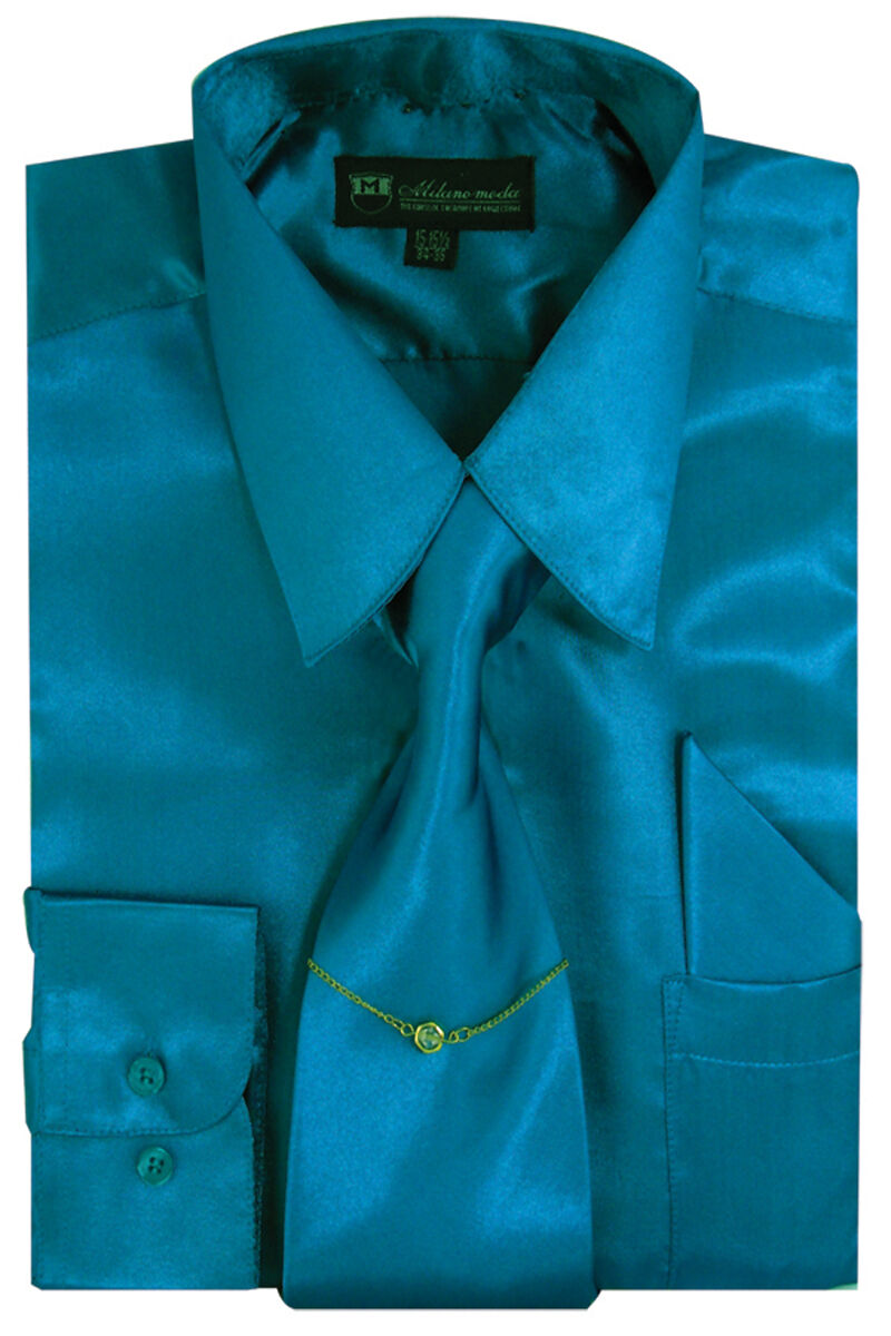 Milano Moda Shirt SG08-Turquoise - Church Suits For Less