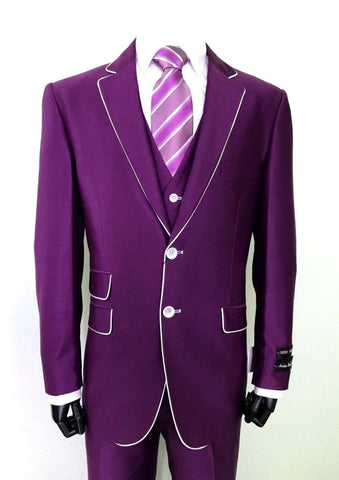 Milano Moda Men Suit 5702V1-Purple - Church Suits For Less