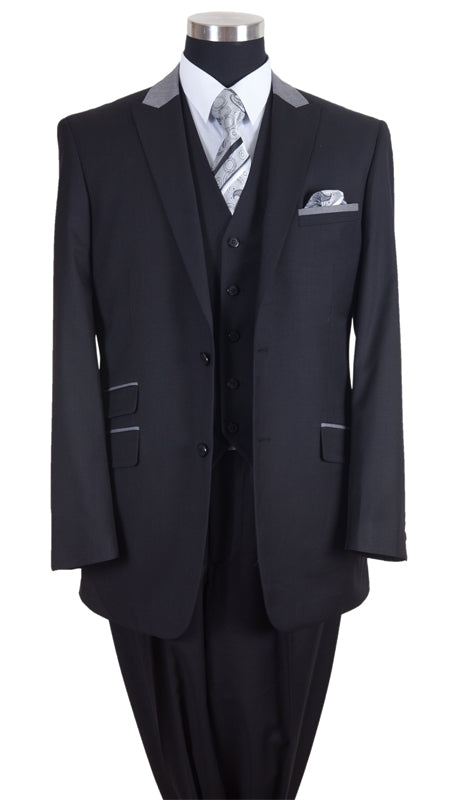 Milano Moda Men Suit-57023-Black/Grey - Church Suits For Less