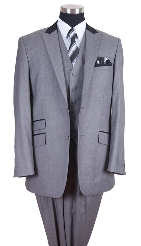 Milano Moda Men Suit-57023-Grey - Church Suits For Less