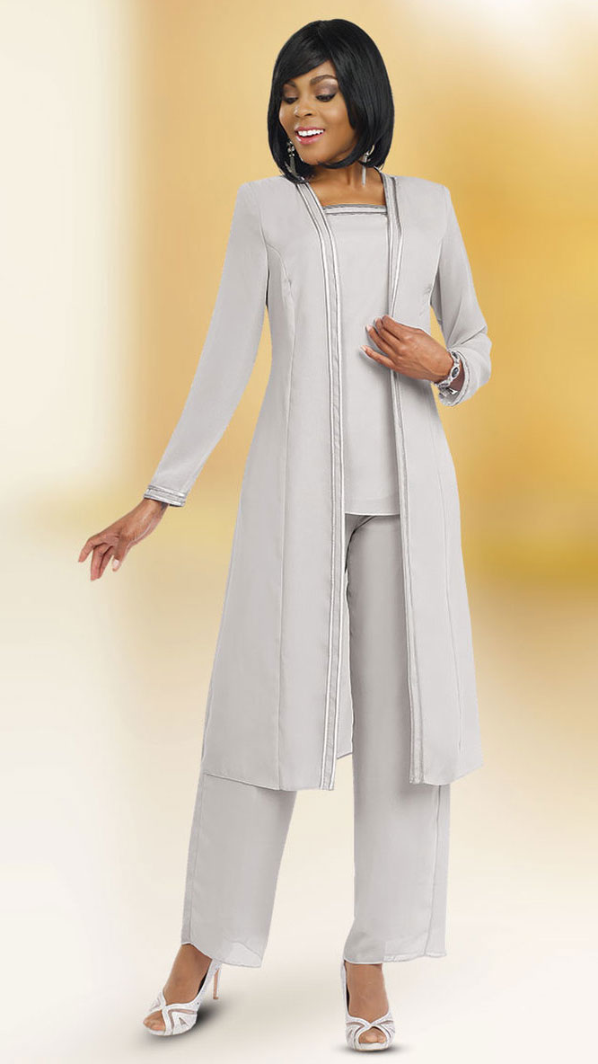 Misty Lane Pant Suit 13062-Silver - Church Suits For Less