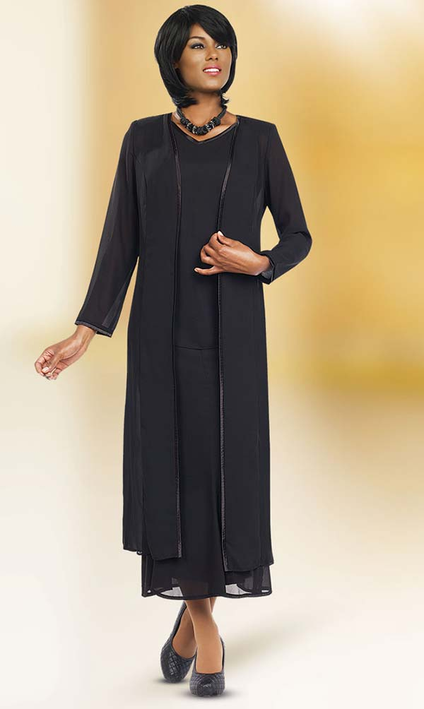 Misty Lane Skirt Suit Suit 13061-Black - Church Suits For Less