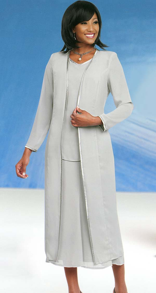 Misty Lane Skirt Suit Suit 13061-Silver - Church Suits For Less