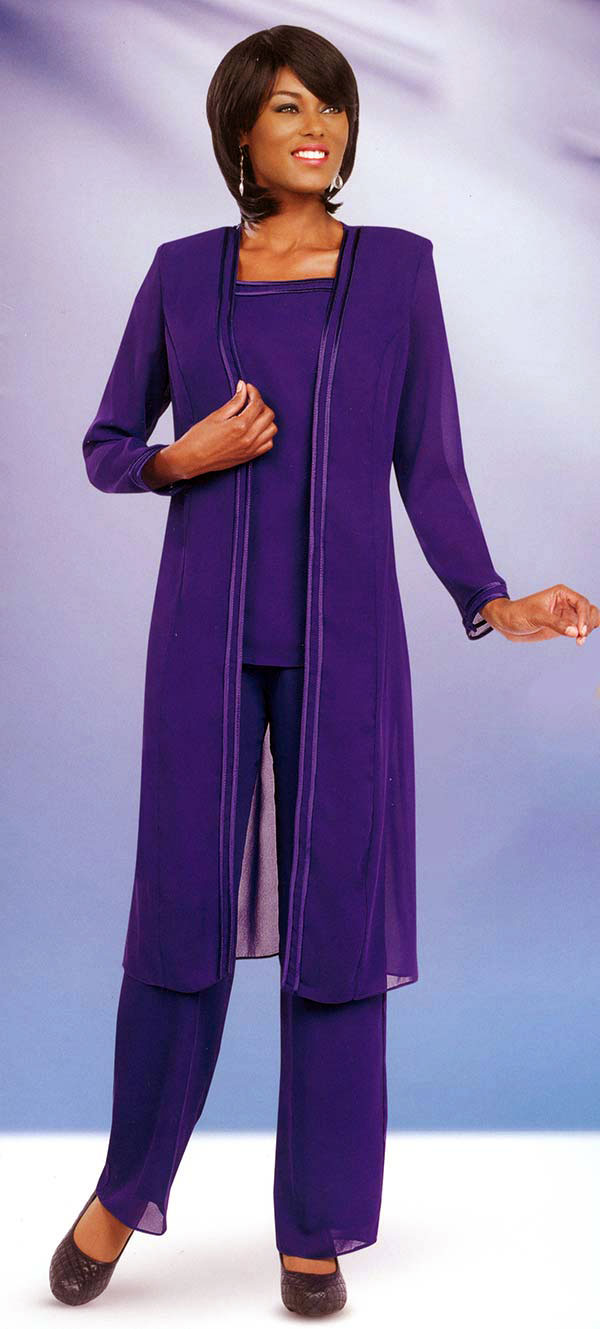 Misty Lane Pant Suit 13062-Purple - Church Suits For Less