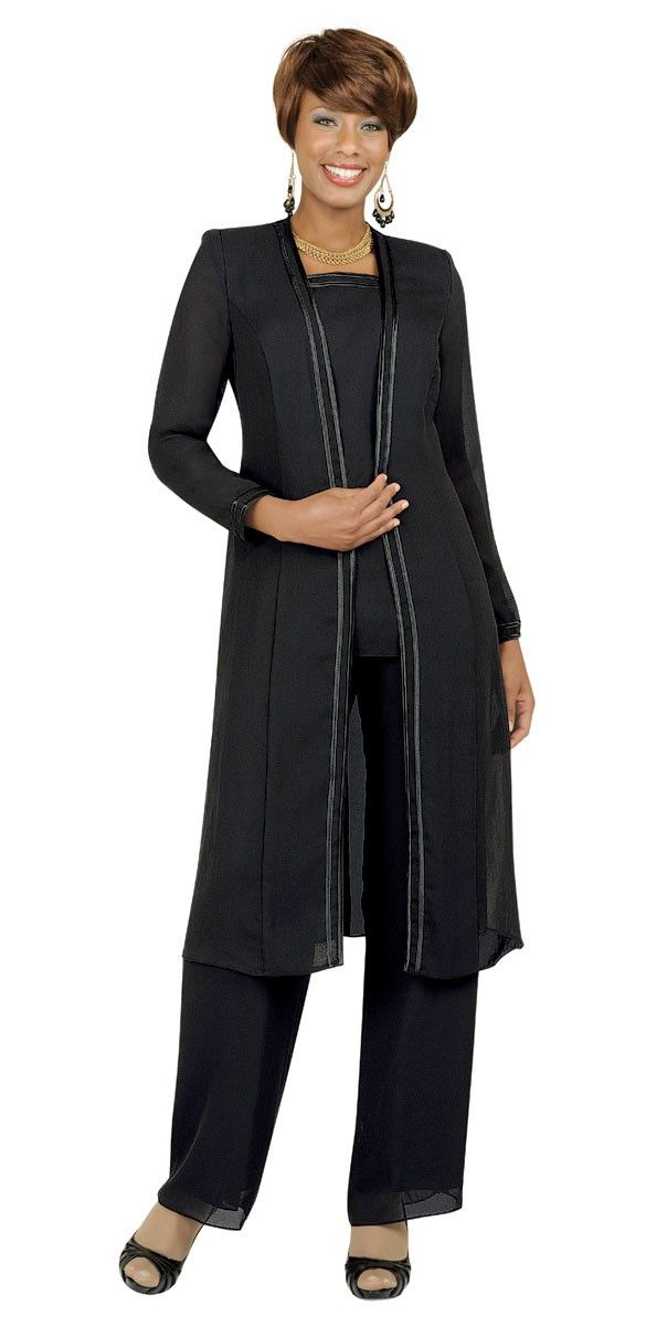 Misty Lane Pant Suit 13062-Black - Church Suits For Less