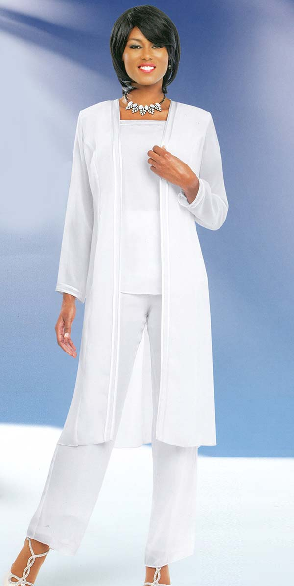 Misty Lane Pant Suit 13062-White - Church Suits For Less