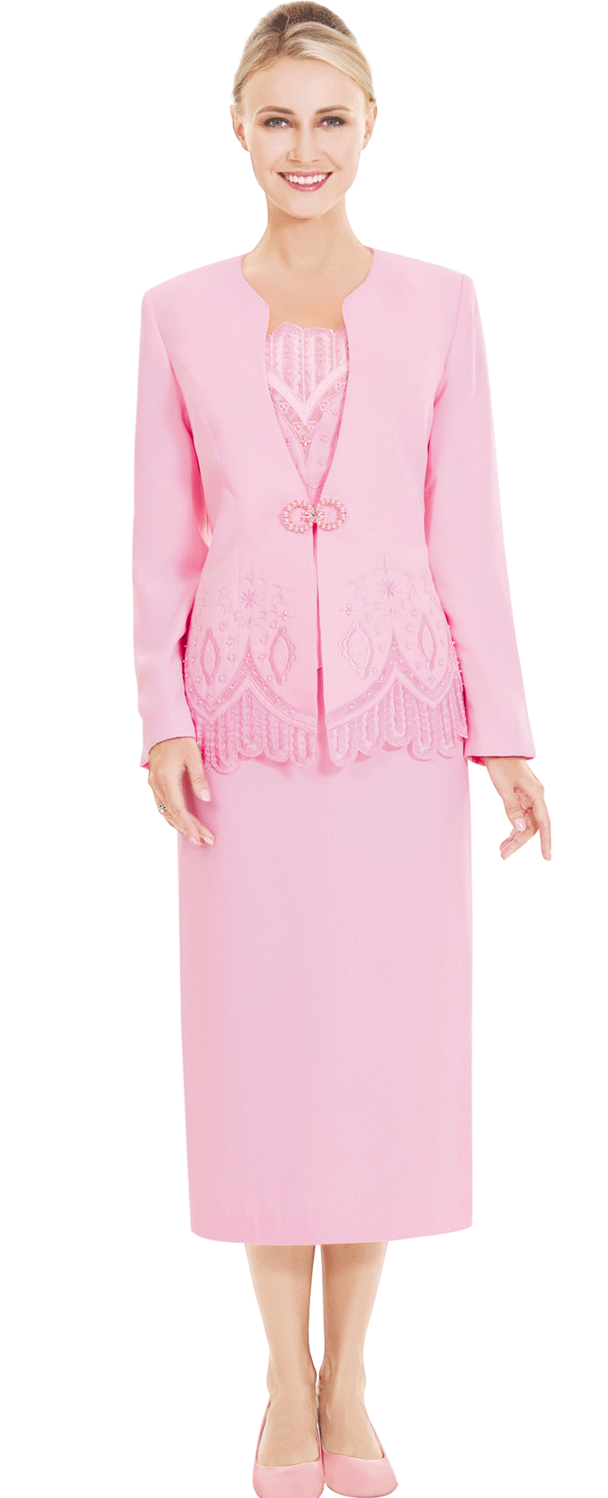 Nina Massini Suit 2523-Pink - Church Suits For Less