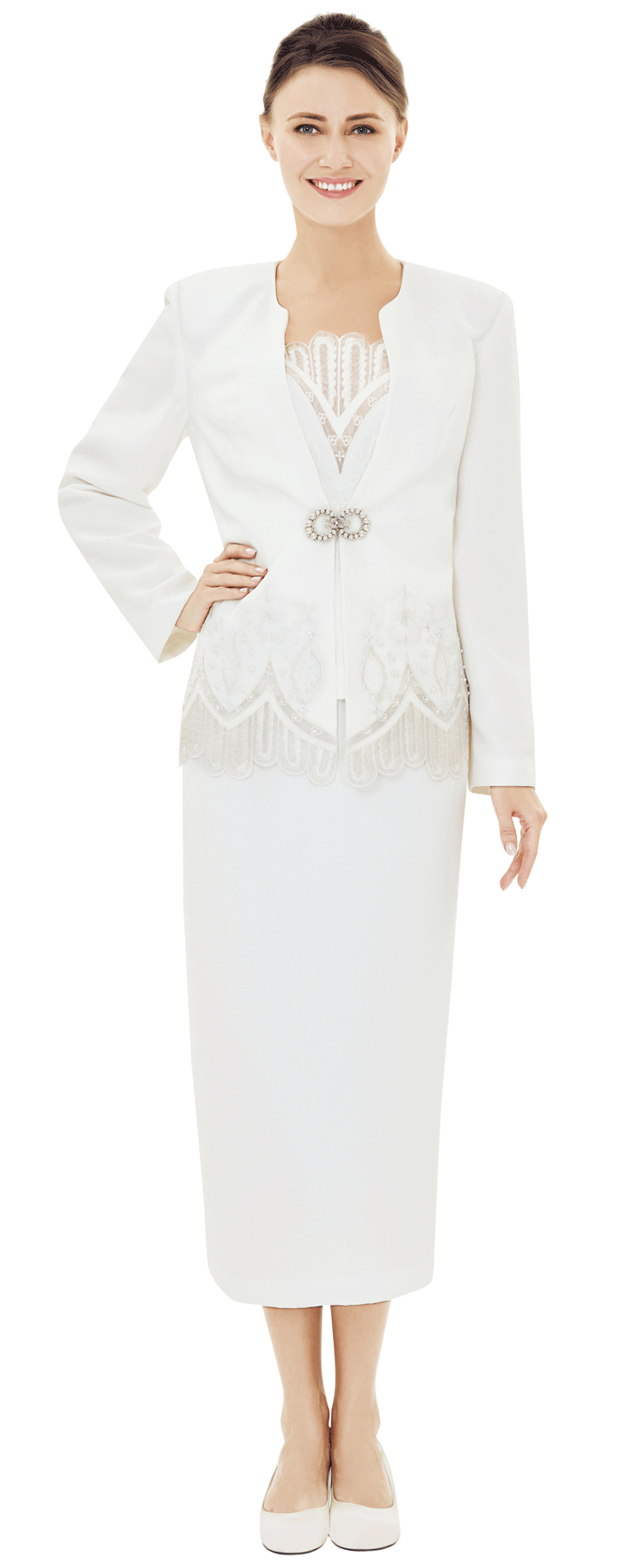 Nina Massini Suit 2523-White - Church Suits For Less