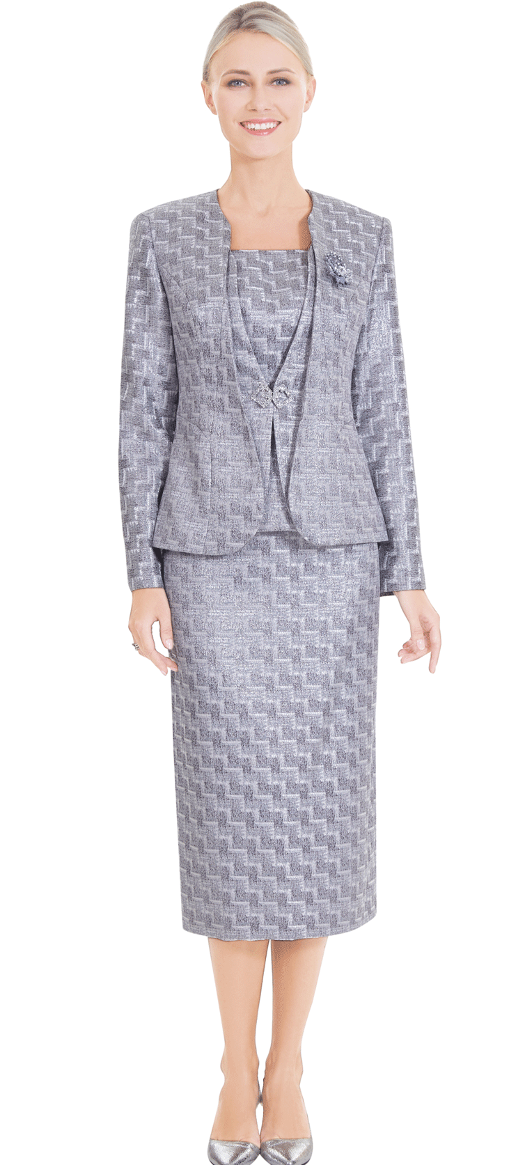 Nina Massini Suit 2576-Silver - Church Suits For Less
