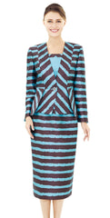 Nina Massini 2524-Blue/Brown - Church Suits For Less
