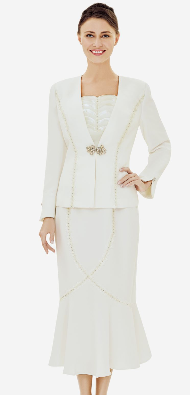 Nina Massini Suit 2490-Ivory - Church Suits For Less
