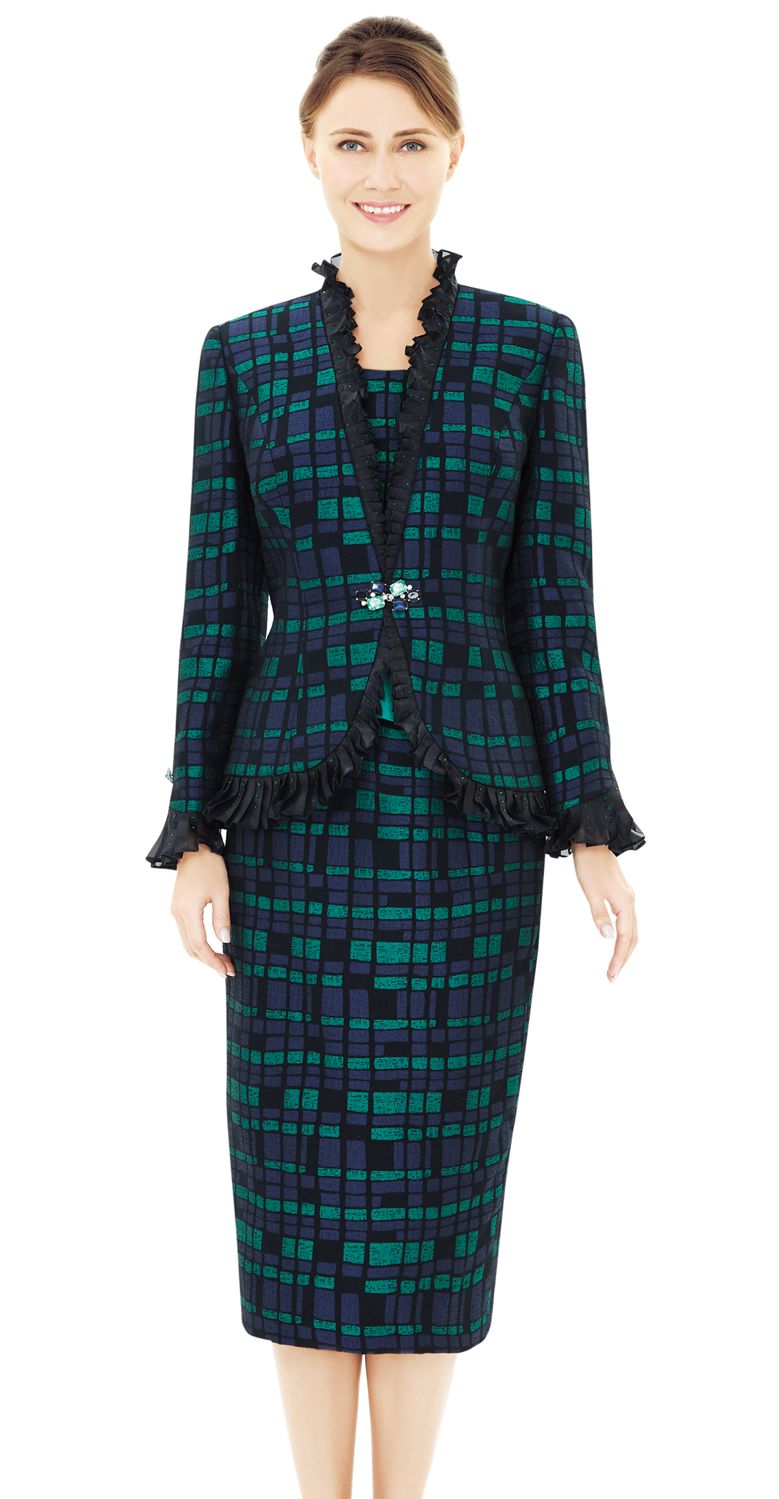 Nina Massini Suit 2534-Black/Green - Church Suits For Less