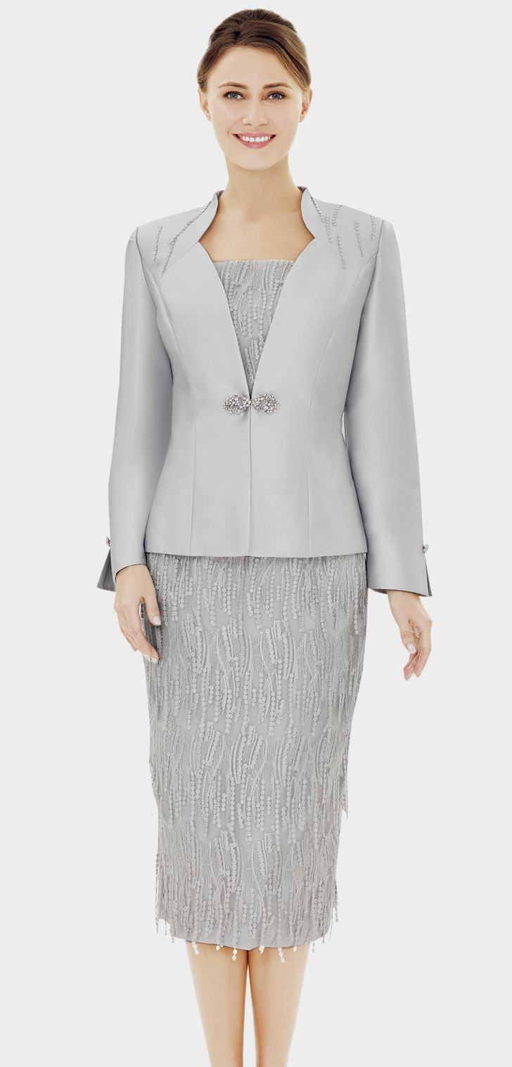Nina Massini Suit 2535-Light Silver - Church Suits For Less