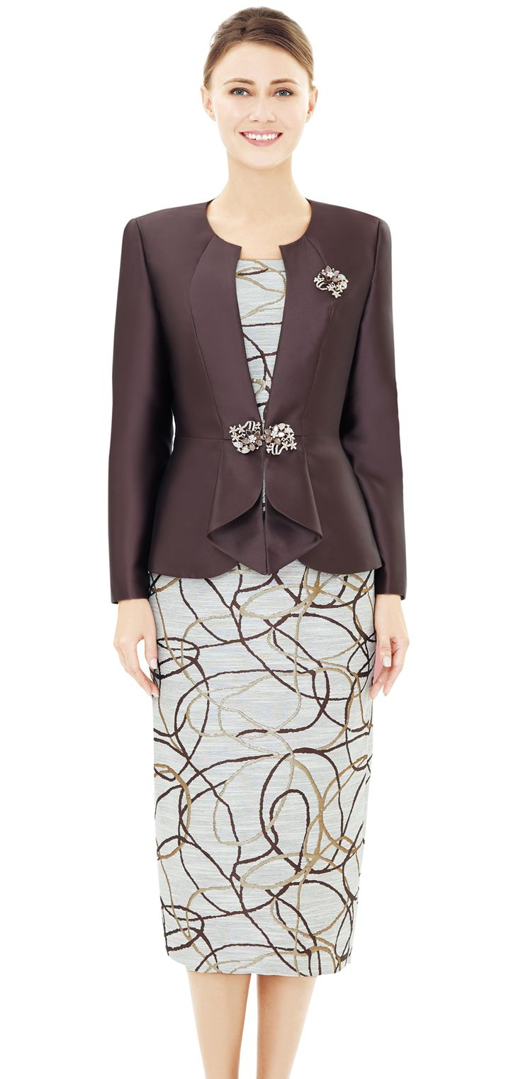 Nina Massini Suit 2544-Brown - Church Suits For Less