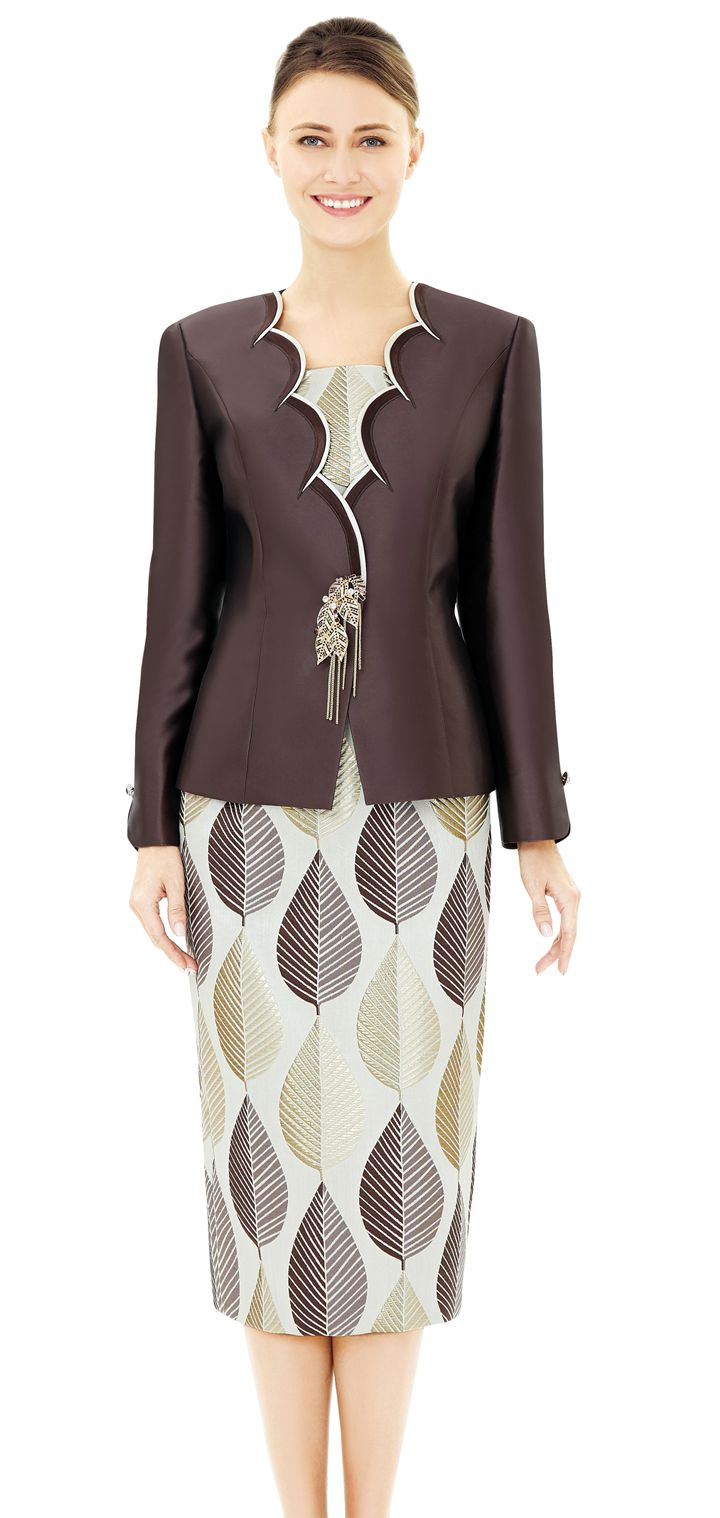 Nina Massini Suit 2545-Brown - Church Suits For Less