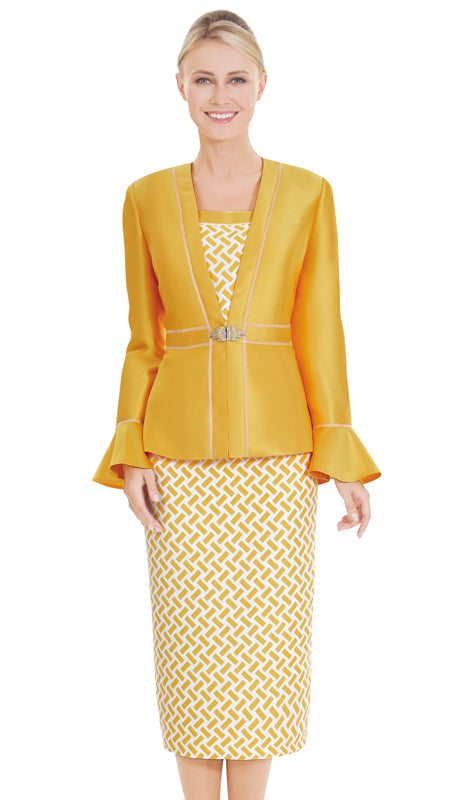 Nina Massini Suit 2585-Yellow - Church Suits For Less