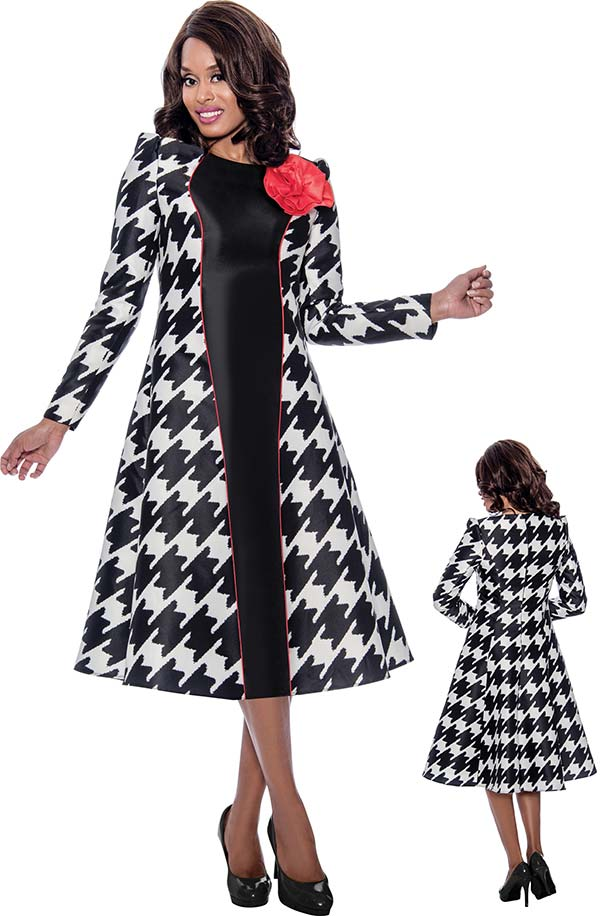 Nubiano Dress 2301-Black/White - Church Suits For Less