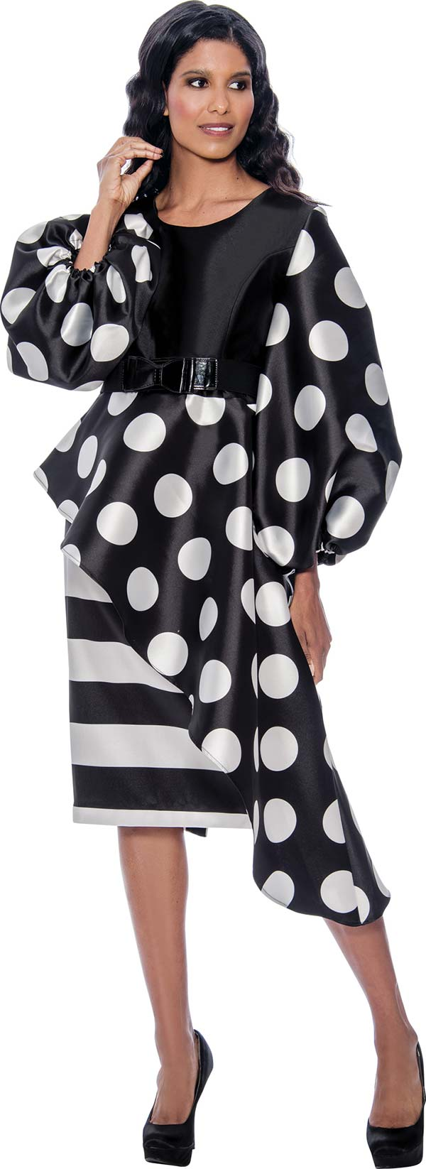 Nubiano Dress 2521-Black/White - Church Suits For Less