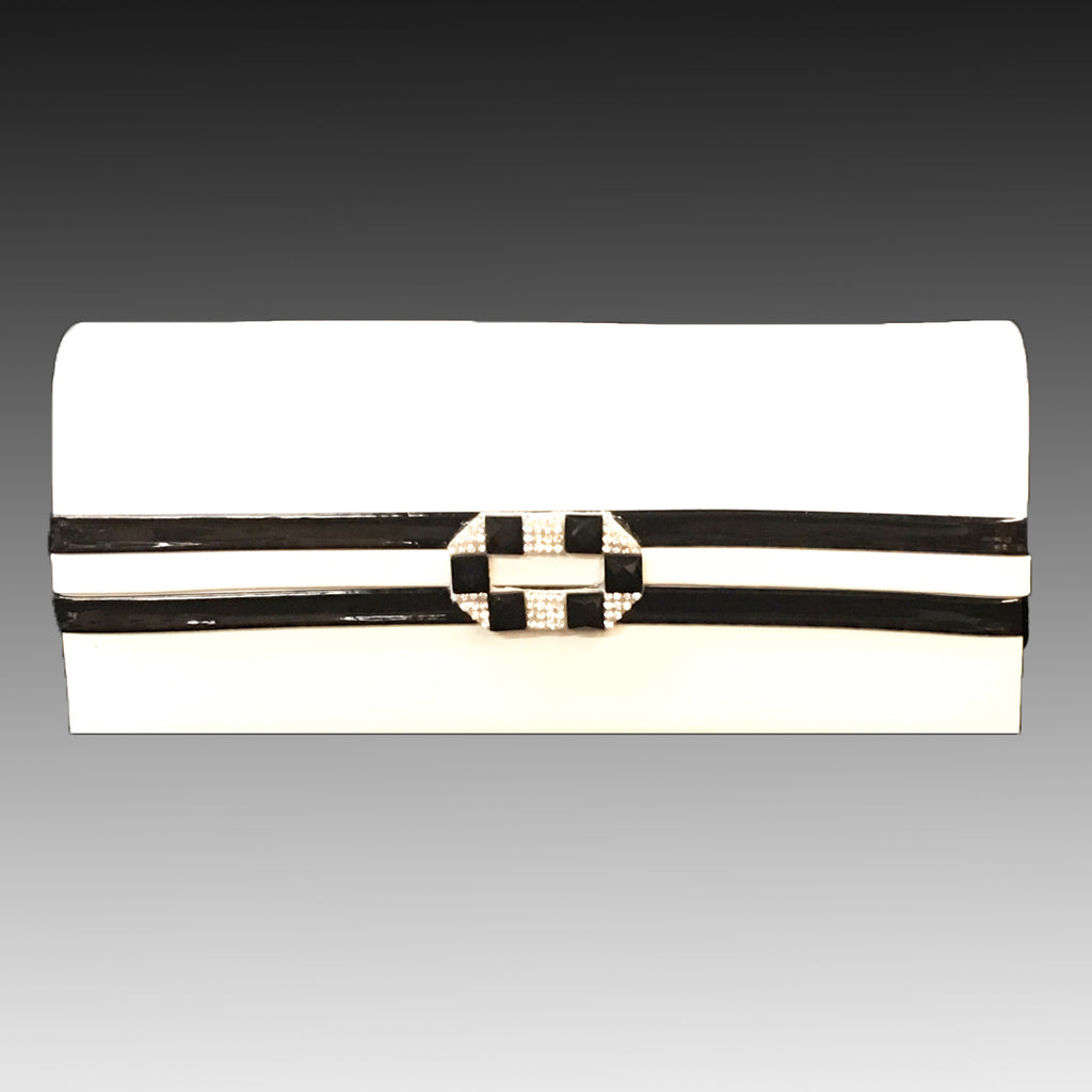 Women Purse P115-White Black - Church Suits For Less