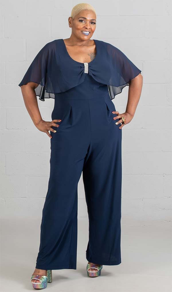 R&M Richards Jump Suit 5412W-Navy - Church Suits For Less
