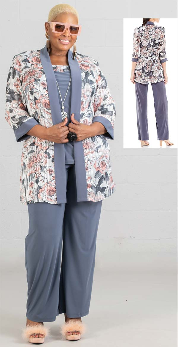 R&M Richards Pant Set 7102W-Gray/Coral - Church Suits For Less
