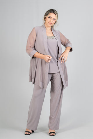R&M Richards Pant Set 8764W-Taupe