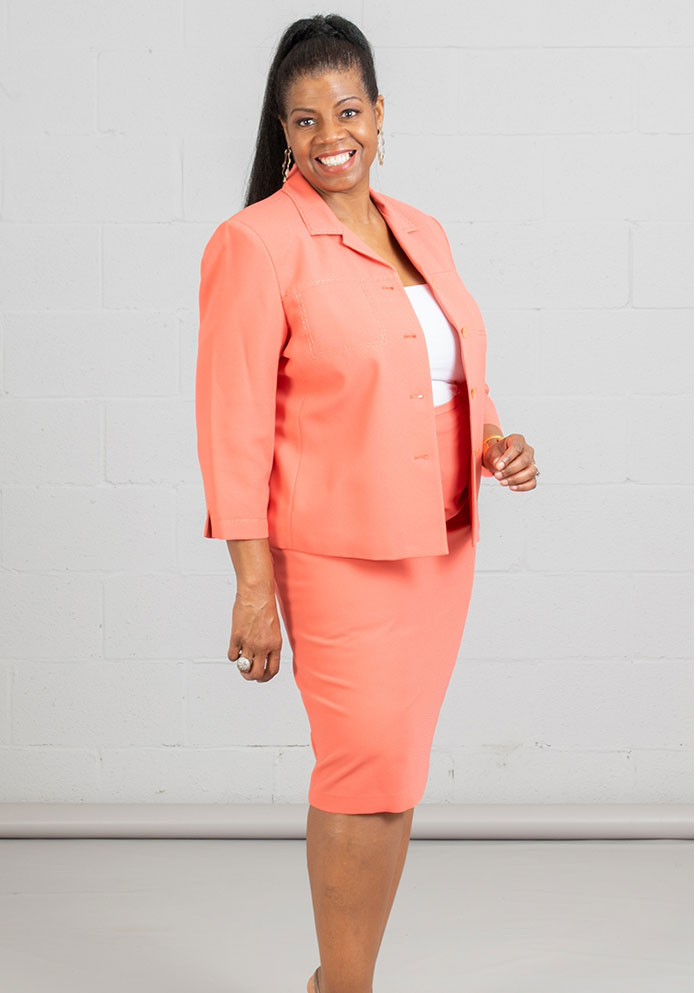 Women Business Skirt Suit 90621-Coral - Church Suits For Less
