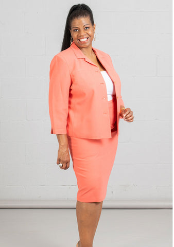 Women Business Skirt Suit 90621-Coral