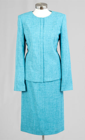 Women Business Skirt Suit 90647-Turquoise