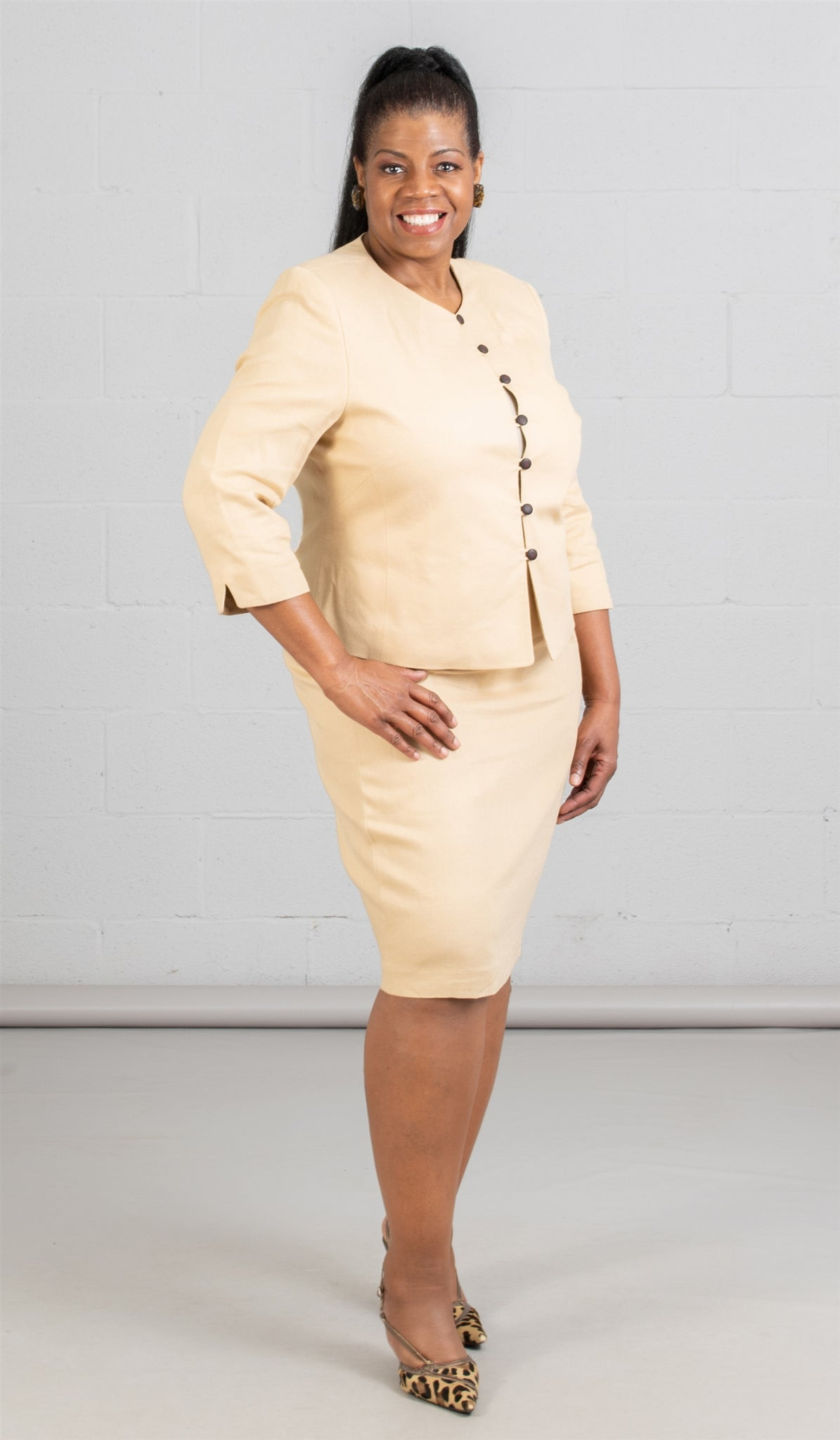 Women Business Skirt Suit 90350-Sand - Church Suits For Less