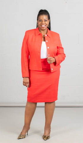 Women Business Skirt Suit 90351-Red