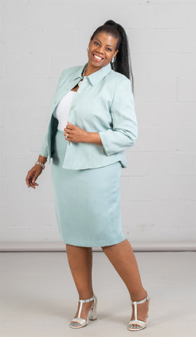 Women Business Skirt Suit 90361-Sea Blue