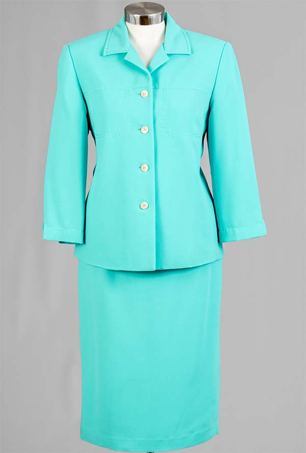 Women Business Skirt Suit 90621-Aqua - Church Suits For Less