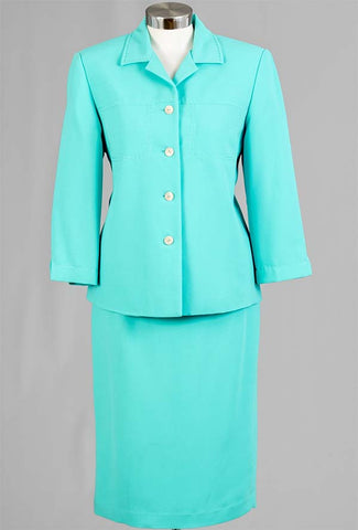 Women Business Skirt Suit 90621-Aqua